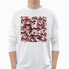 Cloudy Skulls White Red White Long Sleeve T-Shirts