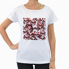 Cloudy Skulls White Red Women s Loose-Fit T-Shirt (White)