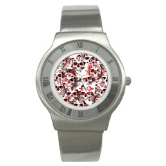 Cloudy Skulls White Red Stainless Steel Watch