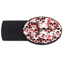 Cloudy Skulls White Red USB Flash Drive Oval (4 GB)