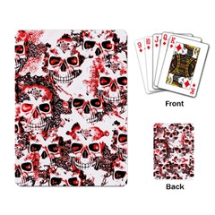 Cloudy Skulls White Red Playing Card