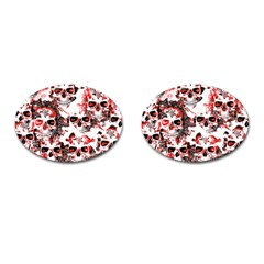 Cloudy Skulls White Red Cufflinks (Oval)