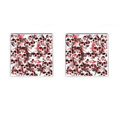 Cloudy Skulls White Red Cufflinks (Square)