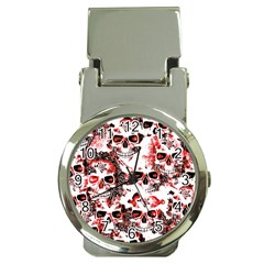 Cloudy Skulls White Red Money Clip Watches