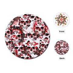 Cloudy Skulls White Red Playing Cards (Round)