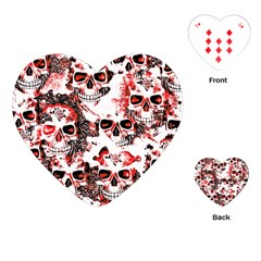 Cloudy Skulls White Red Playing Cards (Heart)