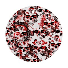 Cloudy Skulls White Red Round Ornament (Two Sides)