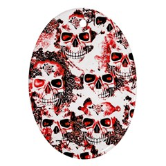 Cloudy Skulls White Red Oval Ornament (Two Sides)