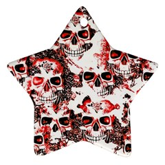 Cloudy Skulls White Red Star Ornament (Two Sides)