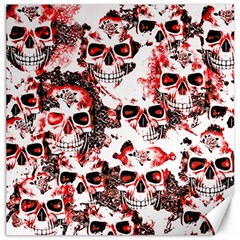 Cloudy Skulls White Red Canvas 12  x 12