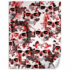 Cloudy Skulls White Red Canvas 12  x 16