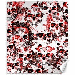 Cloudy Skulls White Red Canvas 20  x 24