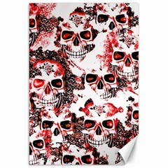 Cloudy Skulls White Red Canvas 20  x 30