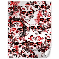 Cloudy Skulls White Red Canvas 36  x 48