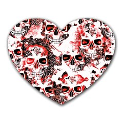 Cloudy Skulls White Red Heart Mousepads