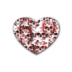 Cloudy Skulls White Red Rubber Coaster (Heart)