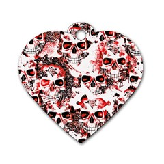Cloudy Skulls White Red Dog Tag Heart (Two Sides)