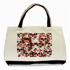 Cloudy Skulls White Red Basic Tote Bag (Two Sides)