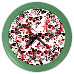 Cloudy Skulls White Red Color Wall Clocks