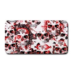 Cloudy Skulls White Red Medium Bar Mats