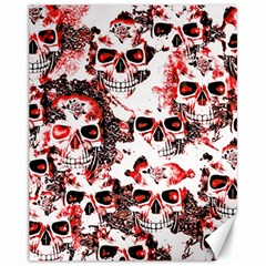 Cloudy Skulls White Red Canvas 11  x 14