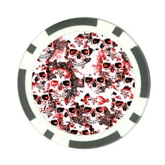 Cloudy Skulls White Red Poker Chip Card Guard