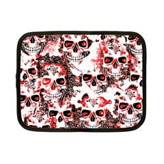 Cloudy Skulls White Red Netbook Case (Small)