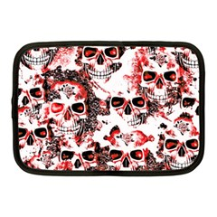 Cloudy Skulls White Red Netbook Case (Medium)