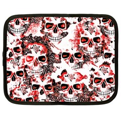 Cloudy Skulls White Red Netbook Case (Large)