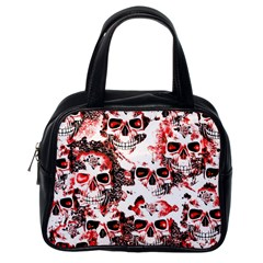Cloudy Skulls White Red Classic Handbags (One Side)