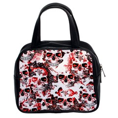 Cloudy Skulls White Red Classic Handbags (2 Sides)