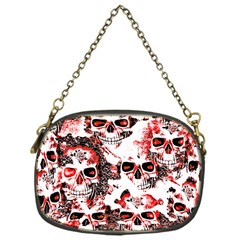 Cloudy Skulls White Red Chain Purses (One Side)