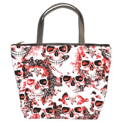 Cloudy Skulls White Red Bucket Bags