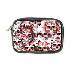 Cloudy Skulls White Red Coin Purse