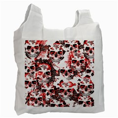 Cloudy Skulls White Red Recycle Bag (One Side)