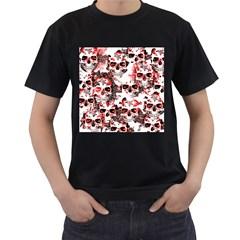 Cloudy Skulls White Red Men s T-Shirt (Black)