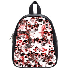 Cloudy Skulls White Red School Bags (small)