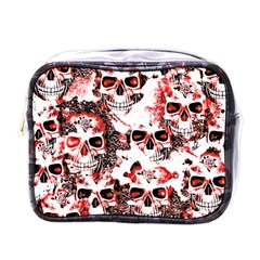 Cloudy Skulls White Red Mini Toiletries Bags