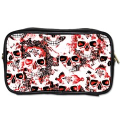 Cloudy Skulls White Red Toiletries Bags 2-Side