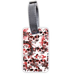 Cloudy Skulls White Red Luggage Tags (One Side)