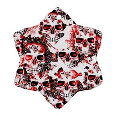 Cloudy Skulls White Red Ornament (Snowflake)
