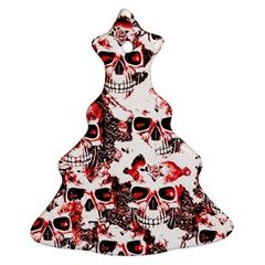 Cloudy Skulls White Red Ornament (Christmas Tree)