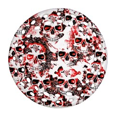 Cloudy Skulls White Red Round Filigree Ornament (Two Sides)