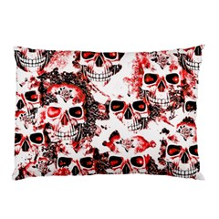 Cloudy Skulls White Red Pillow Case (Two Sides)