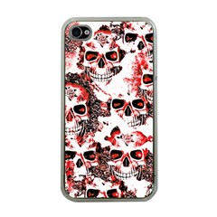 Cloudy Skulls White Red Apple iPhone 4 Case (Clear)