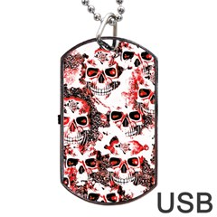 Cloudy Skulls White Red Dog Tag USB Flash (Two Sides)
