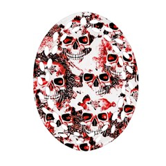 Cloudy Skulls White Red Oval Filigree Ornament (Two Sides)