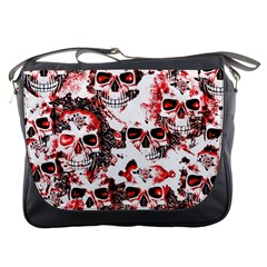 Cloudy Skulls White Red Messenger Bags