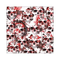 Cloudy Skulls White Red Acrylic Tangram Puzzle (6  x 6 )