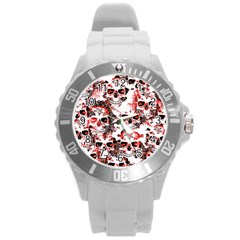 Cloudy Skulls White Red Round Plastic Sport Watch (L)